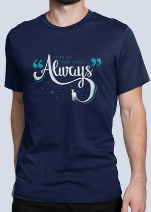Men Half Sleeves Navy Blue Cotton Harry Potter T-Shirt