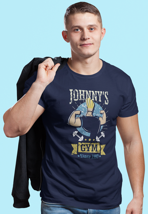 Men Half Sleeves Navy Blue Cotton Johnny Bravo T-Shirt