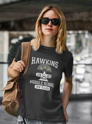Women Half Sleeves Black Cotton Stranger Things T-Shirt