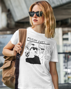 Women Half Sleeves White Cotton Taylor Swift T-Shirt