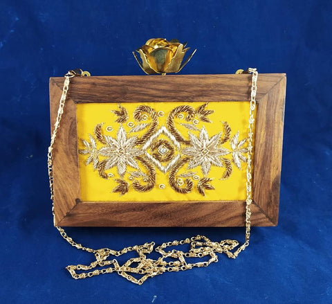 Handmade Peel Yellow Wooden Mosaic Clutch Bags