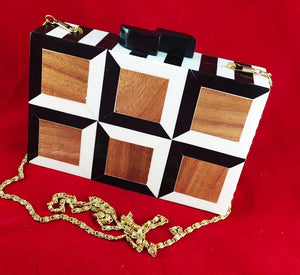 Handmade Black & White Wooden Mosaic Clutch Bags
