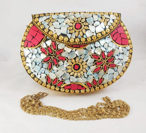 Handmade Royal Gold Mosaic Clutch Bags