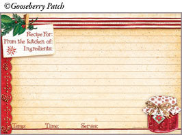 "Gooseberry Patch Christmas Jelly 4"" x 6""  Recipe Cards"