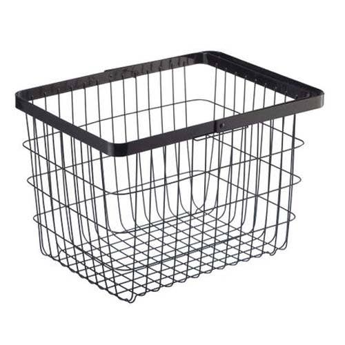 Medium sized, black Tower Laundry Basket is made from a sturdy wire design and shown with the collapsible handle down.