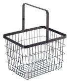 Medium sized, black Tower Laundry Basket is made from a sturdy wire design and shown with the collapsible handle up