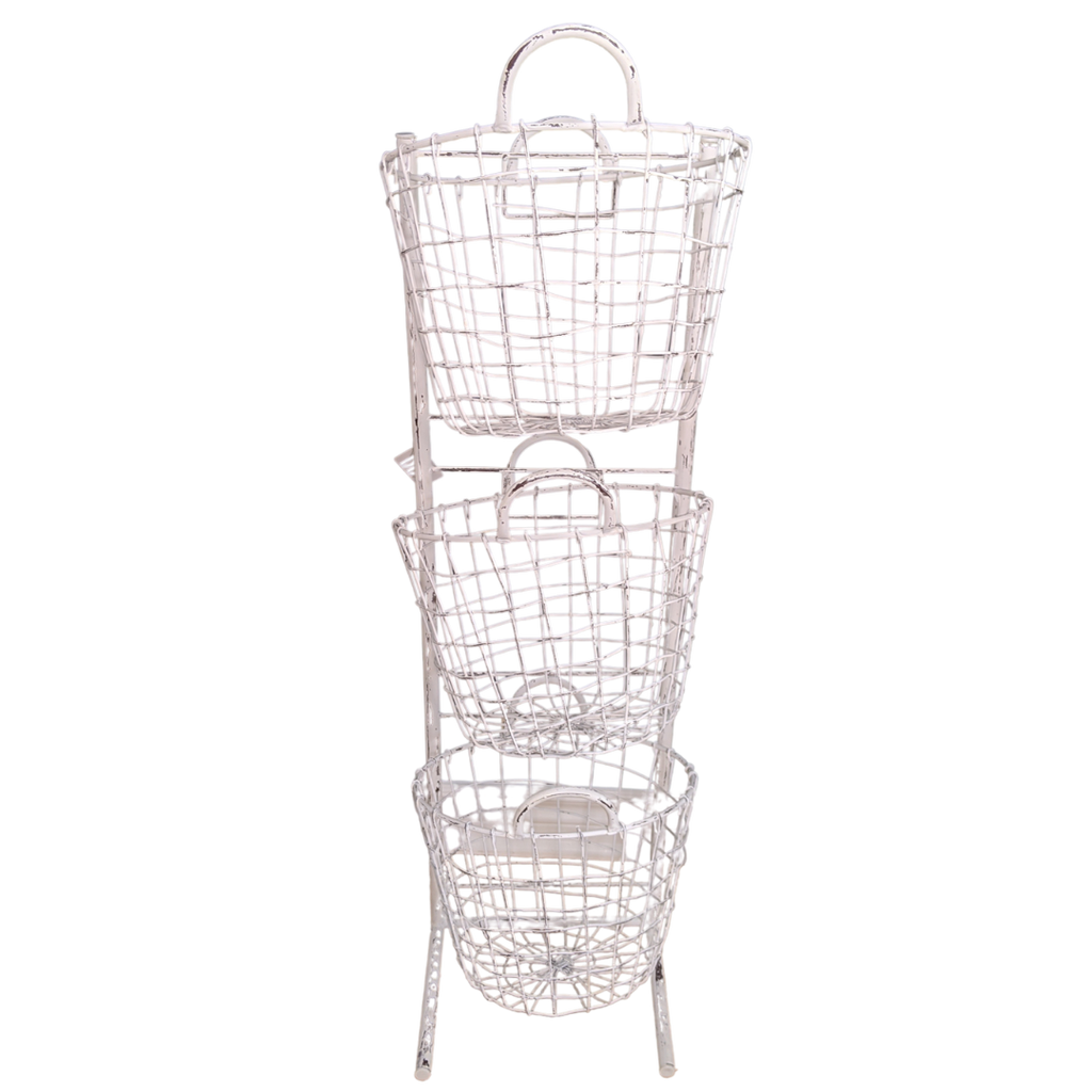 Farmhouse Wire Basket Stand