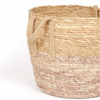 Natural Blush Two Tone Straw Basket Set of Three