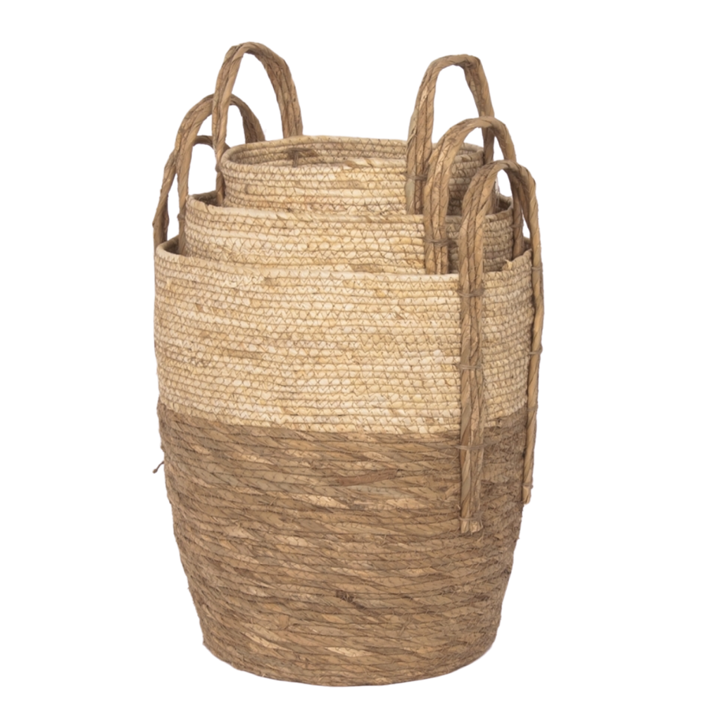 Natural Beige Two Tone Tall Baskets