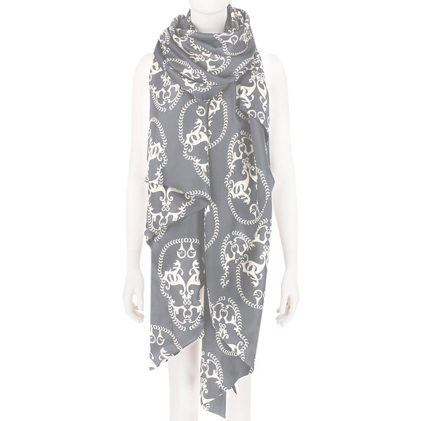 Thomas Wylde luxurious silk satin scarf in grey and cream with a skull pattern