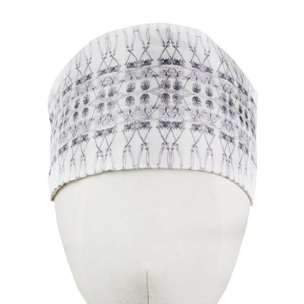 Thomas Wylde white grey silk skeleton patterned headband