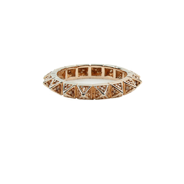 Eddie Borgo rose gold tone crystal encrusted pyramid spike ring