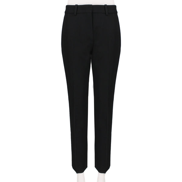 Victoria Beckham luxurious slim-fitting cropped trousers in a black twill wool gabardine fabric