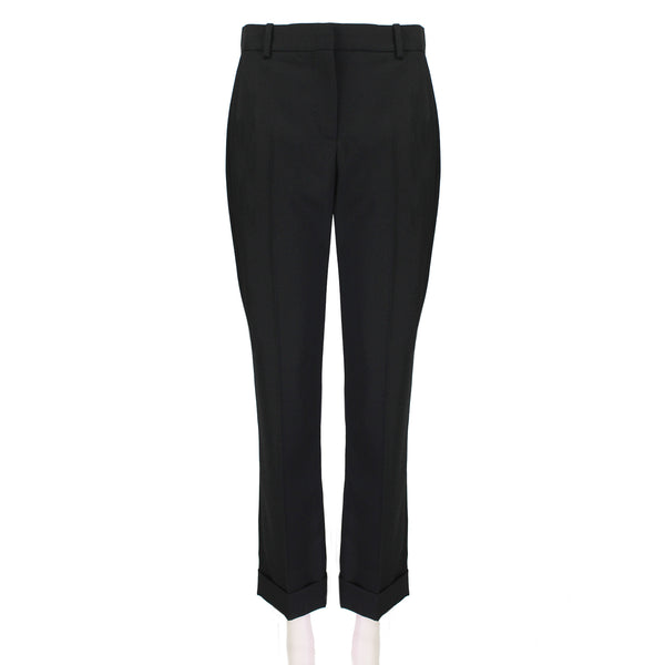 Alexander McQueen black wool trousers with turn-up hem