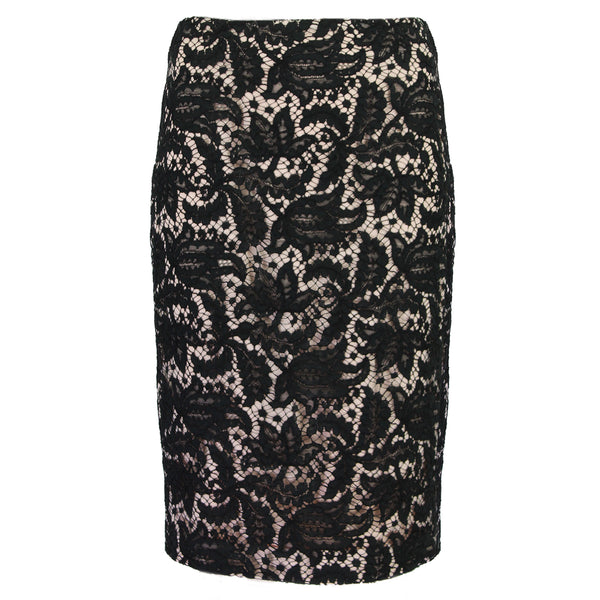 Alexander McQueen blush pink pencil skirt with black lace overlay