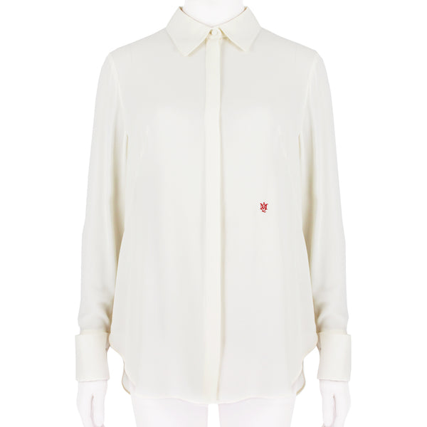Alexander McQueen shirt blouse in an ivory silk crepe fabric