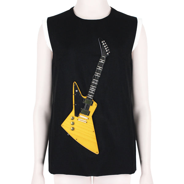 Acne Studios Black Guitar Applique Top