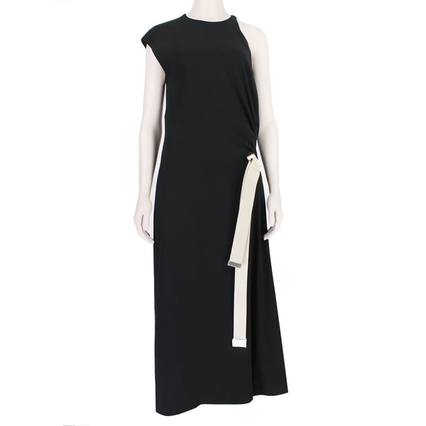 Acne Studios Black Crepe Calf Length Dress