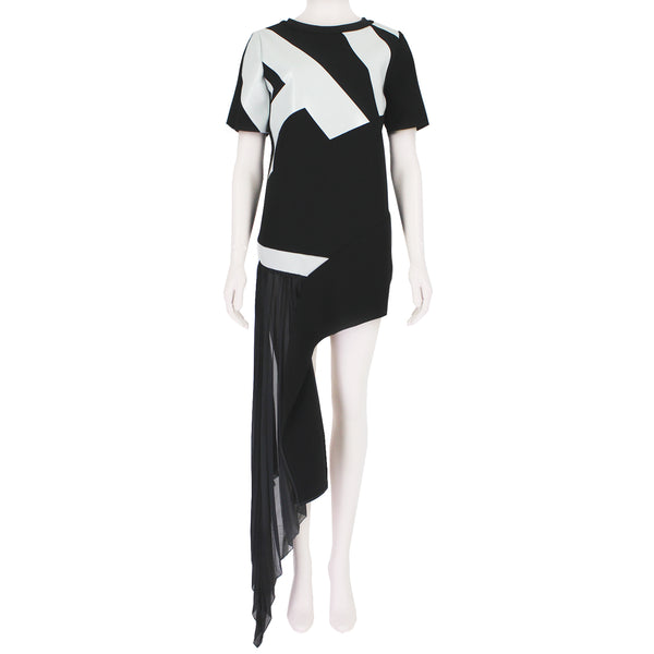 Anthony Vaccarello black white neoprene monogrammed mini dress with silk chiffon side train