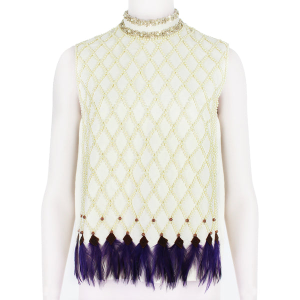 Dries Van Noten luxurious ivory cream top with pearl and feather detailing