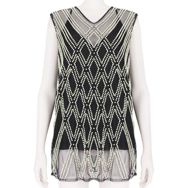 Dries Van Noten black mesh top with pearl embellishment