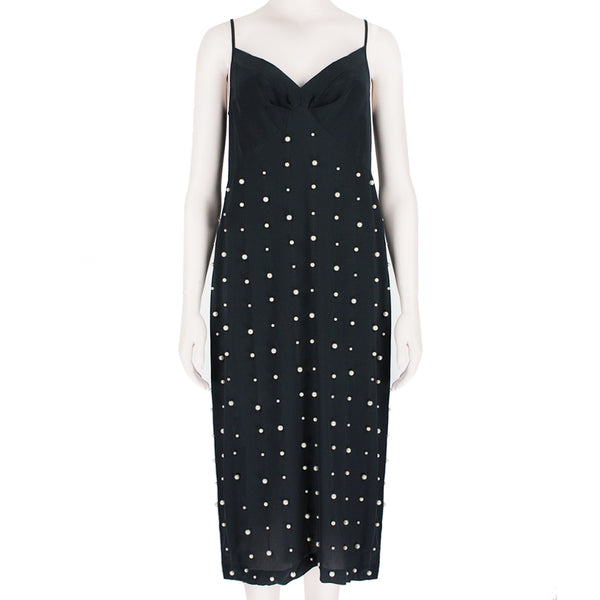 Dries Van Noten Navy Midnight Blue Pearl Embellished Silk Slip Dress