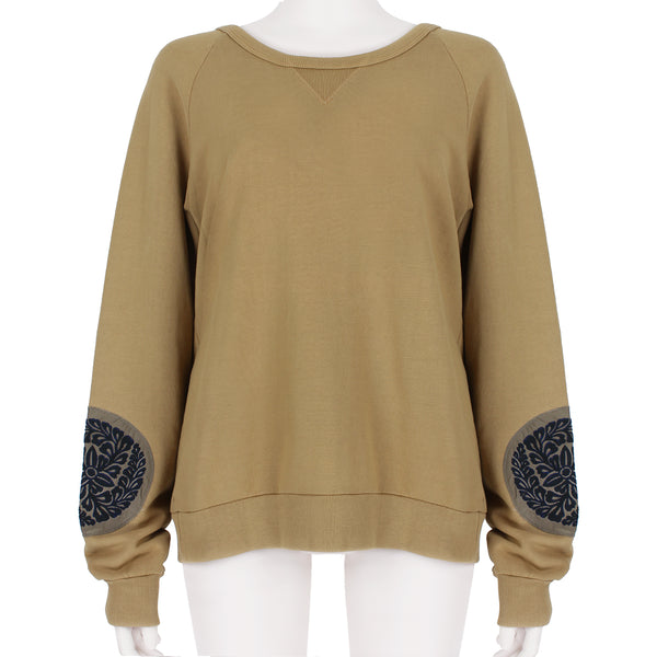 Dries Van Noten loopback cotton sweatshirt in a camel tone with embroidered patch detailing