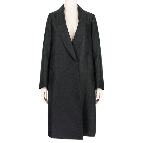 Dries Van Noten black leopard jacquard coat with shawl lapels