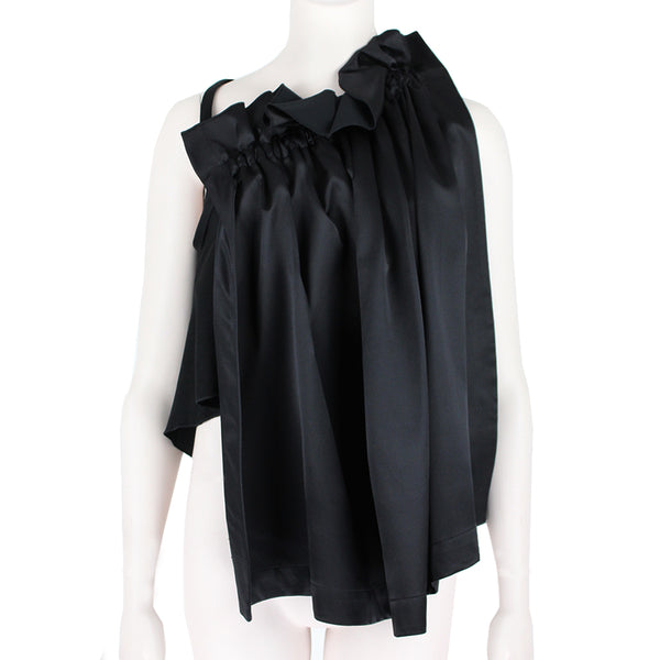 Ellery luxurious black satin top with ruffle detailing