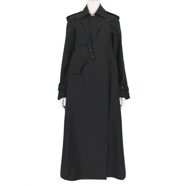Ellery Christian trench coat in dark charcoal grey