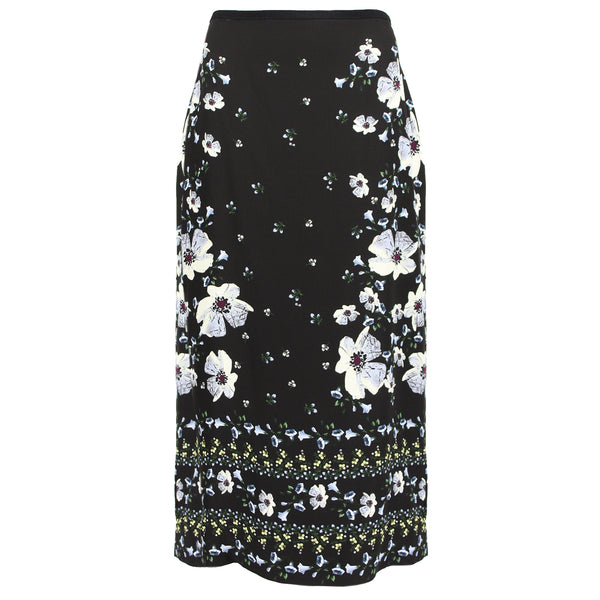 Erdem luxurious calf-length pencil skirt in a black rose hip night floral pattern silk crepe
