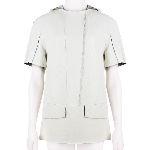 Felipe Oliveira Baptista luxurious runway collection hooded top in off white grained leather