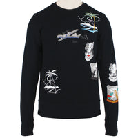 Mihara Yasuhiro runway collection black loopback cotton sweatshirt with embroidery detailing