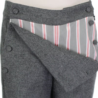 MONSE runway collection grey trousers pants with bib front and regimental stripe pattern