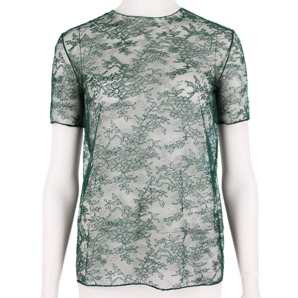Nina Ricci sheer mesh and lace top in a dark green