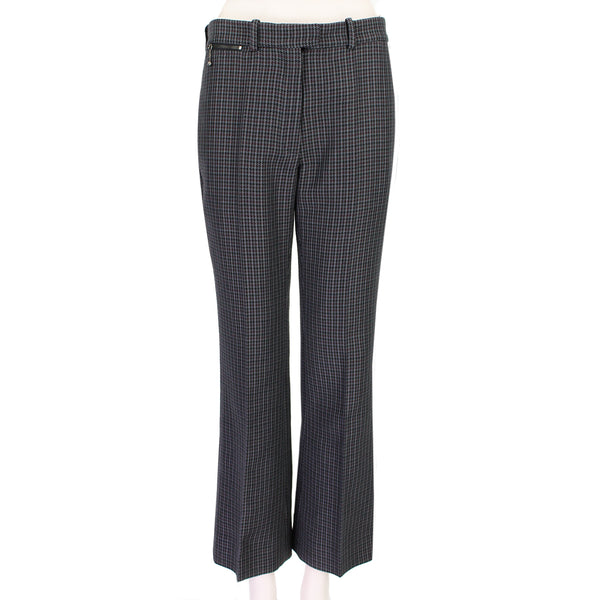 Nina Ricci black grey and claret houndstooth pattern trousers in a wool tweed fabric