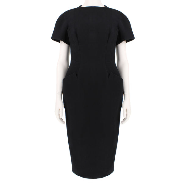 Proenza Schouler black crepe hourglass midi dress