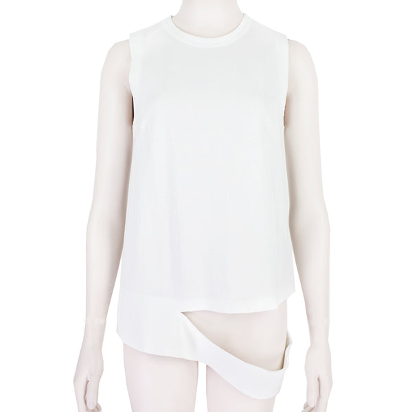 Proenza Schouler top in a white neoprene jersey fabric with slashed hemline