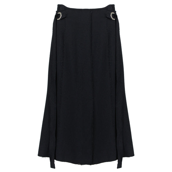 Proenza Schouler luxurious black skirt in a double weave crepe fabric with rivet detailing to waistband