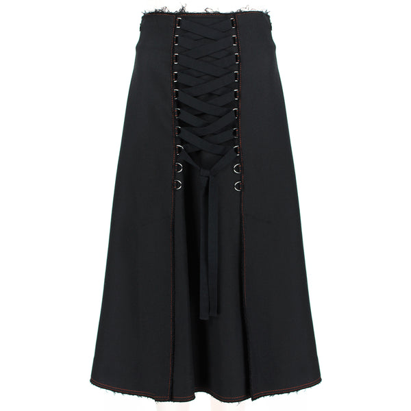 Proenza Schouler luxurious black twill A-line skirt with laced detailing