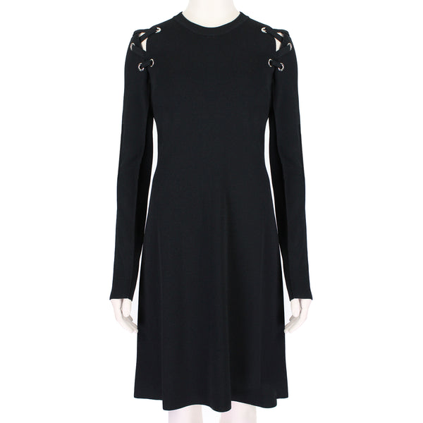 Proenza Schouler ribbed knit dress with laced rivet sleeves