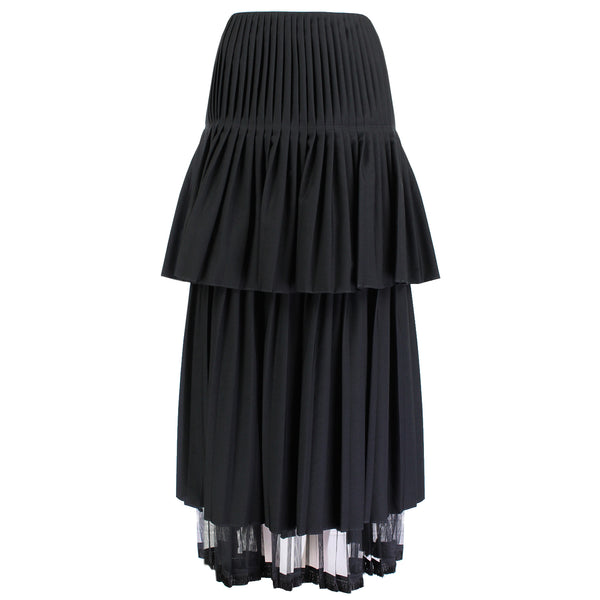 Stella McCartney black wool pleated and tiered full length skirt