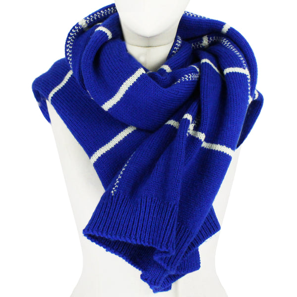 Dries Van Noten royal blue and off white knitted wool scarf in a check pattern