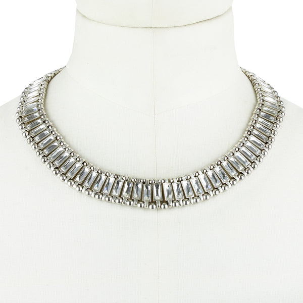 Philippe Audibert silver crystal detailed art deco collar necklace