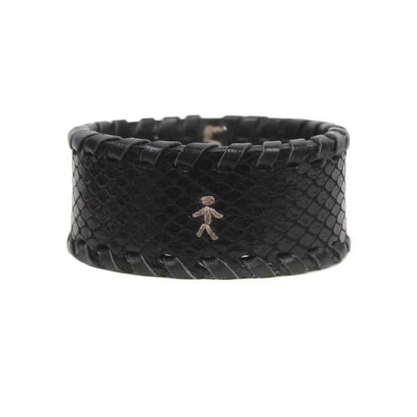 Henry Beguelin black snakeskin textured leather cuff