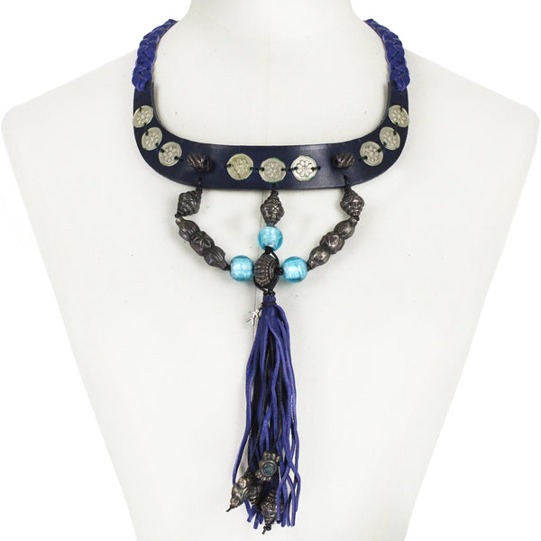 Henry Beguelin indigo and black leather collar necklace with turquoise glass beading and leather tassel pendant