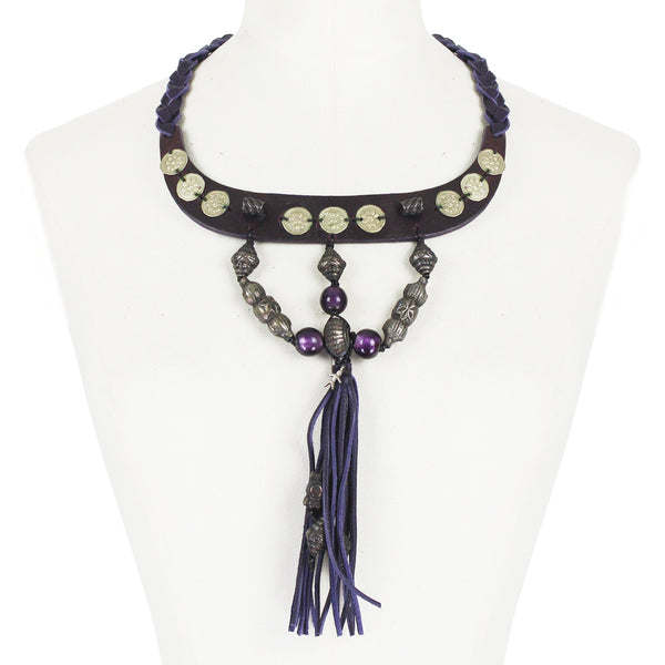 Henry Beguelin purple and dark brown leather collar necklace with purple glass beading and leather tassel pendant