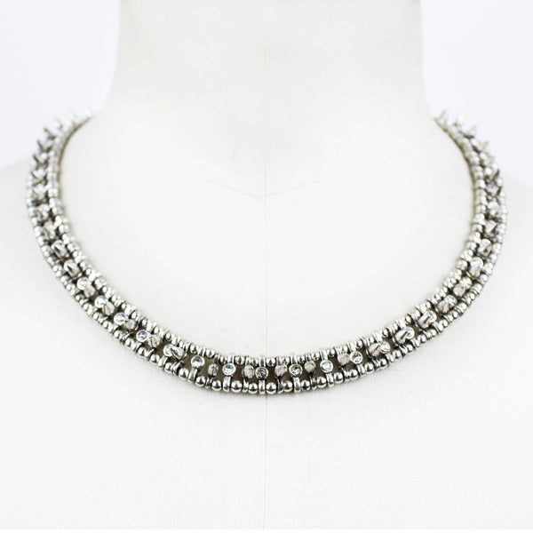 Phillipe Audibert silver collar necklace with spike and crystal detailing