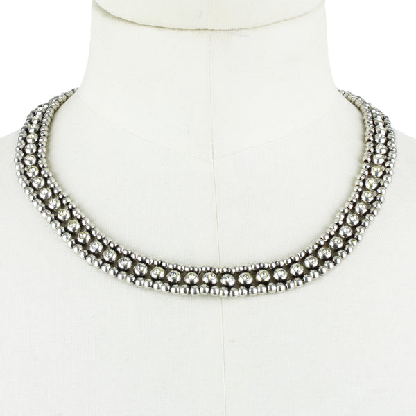 Philippe Audibert silver collar necklace with crystal detailing