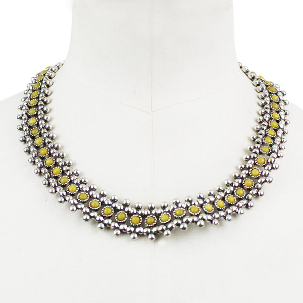 Phillipe Audibert silver tone collar necklace